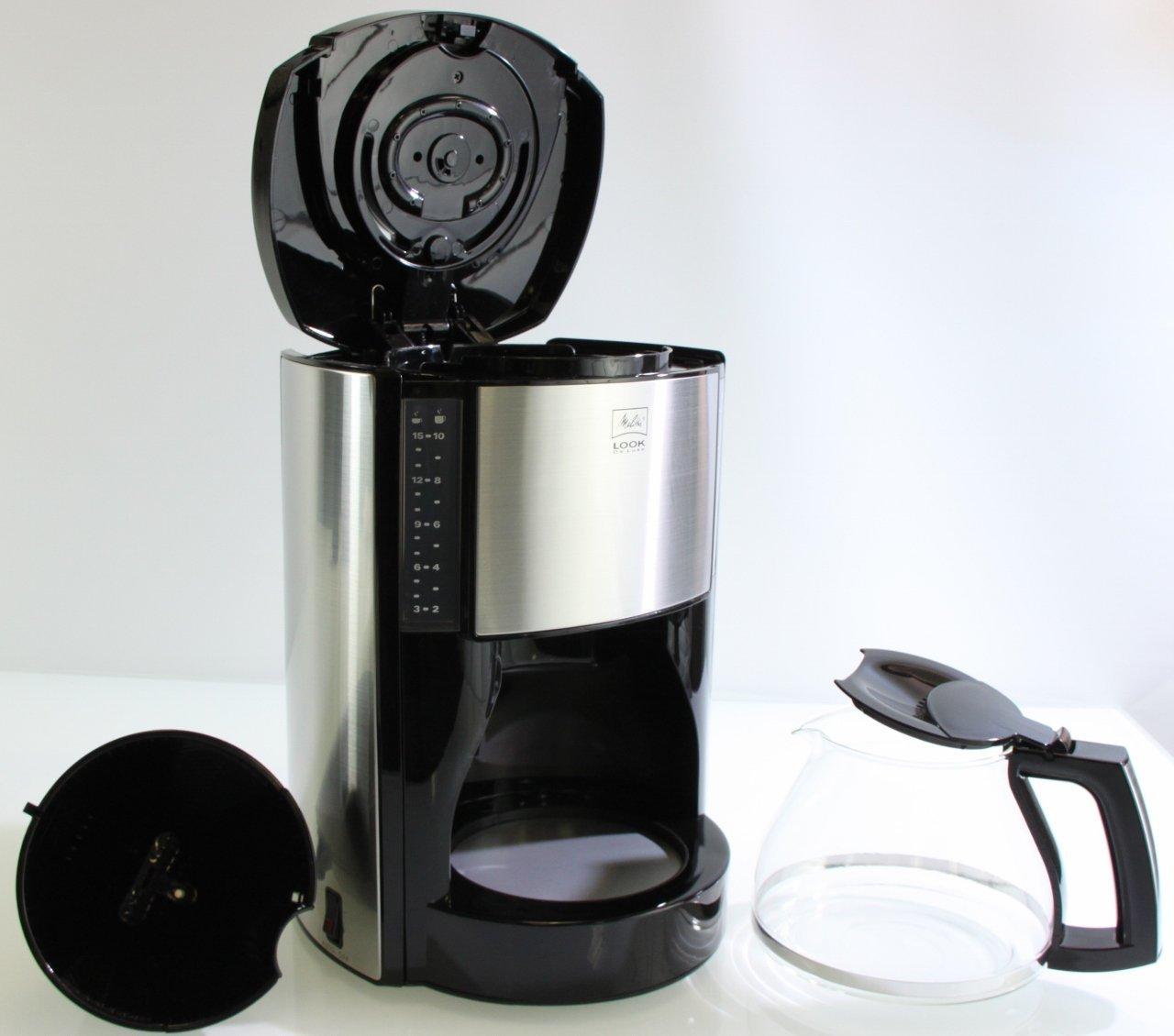 melitta look de luxe kaffeemaschine m 652 in edelstahl schwarz online g nstig bestellen. Black Bedroom Furniture Sets. Home Design Ideas